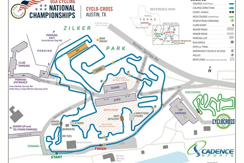 2015 Austin Cyclocross National Championships course map