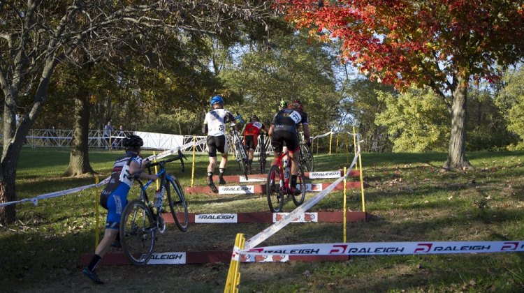 Kaiser hops the stairs in his signature style at Gateway Cross Cup Day One. © Matt James
