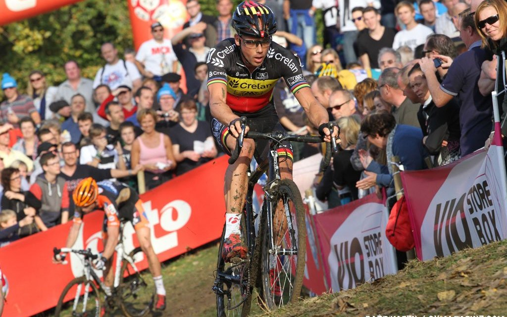Sven Nys puts in an attack to rid Van Aert in attempt to win his 10th Koppenbergcross. © Bart Hazen