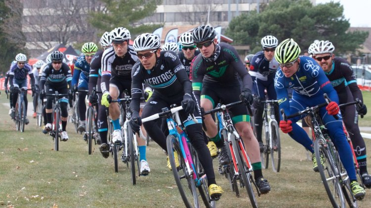 David Reyes (Chicago, IL), Maxx Hall (Niles, IL), and Brian Conant (Dekalb, IL) lead the Men's 1/2/3 field into the first corner on day one of racing at the Hilton Indian Lakes Resort.