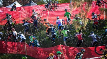 The course included a large off-camber section many riders had to run. © Joel Quimby