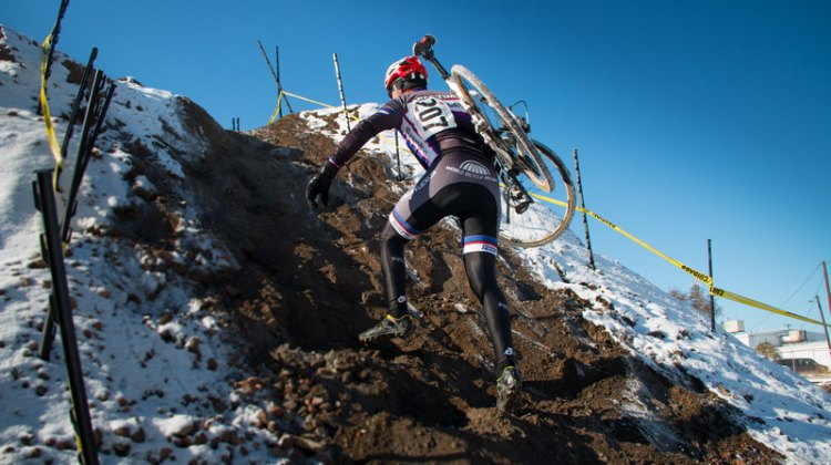 If you weren't climbing at the MUCCY Urban CX Race last weekend, you were riding through snow. © Paul Lee Photography