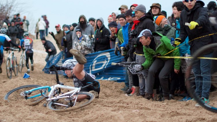 "The lively crowd ""had moar fun"" as they watched Cat 4/5 riders ""navigate"" the sand. © SnowyMountian Photography"