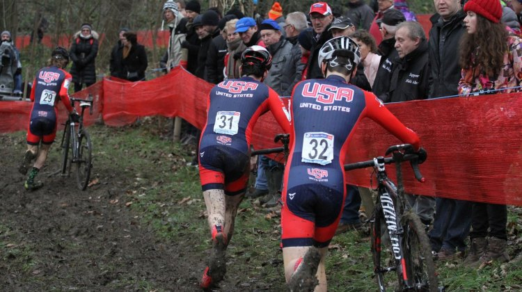 Dillman leads out O'Keefe and Earl at Namur. © Bart Hazen/Cyclocross Magazine