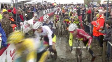 The Elite Men run one of the many ditches found on the Azencross-Loenhout cyclocross course. photo: video screenshot