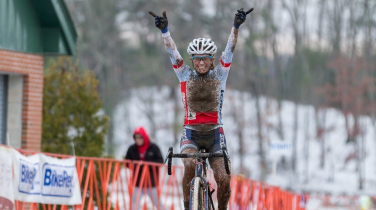 An elated Ellen Noble wins her second ever UCI race, both this weekend at Baystate. © Todd Prekaski