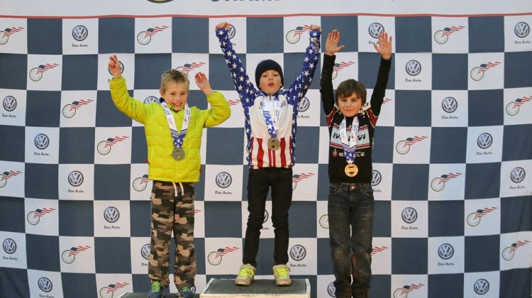 Junior 9-10 Men - 2015 Cyclocross National Championships Podium © Cyclocross Magazine (full res avail for purchase - email crosseyed@cxmagazine.com )