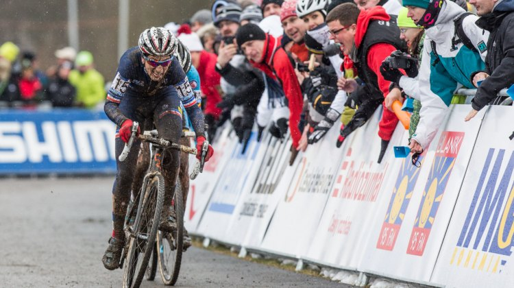 The final kick to the line - Ferrand Prevot over Cant - Elite Women - 2015 Cyclocross World Championships © Mike Albright / Cyclocross Magazine