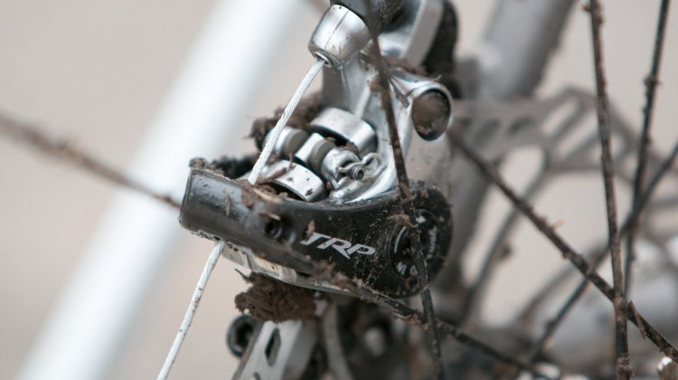 For mechanical braking power, Hecht uses TRP's Spyre SLC calipers, which come with carbon actuation arms. © Cyclocross Magazine