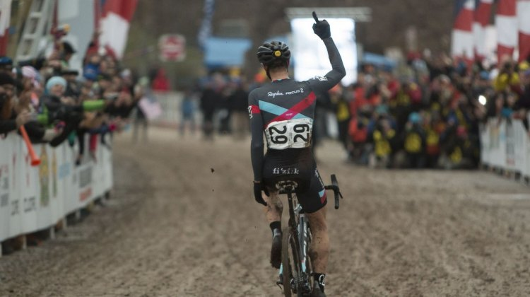 Powers crosses the line with his finger skyward, showing he's number one for the second year in a row. © Cyclocross Magazine