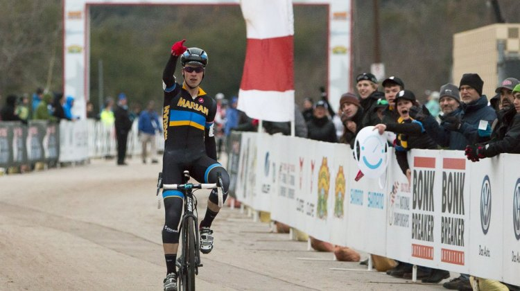 Josh Johnson of Marian University completing a come from behind victory Friday. © Cyclocross Magazine