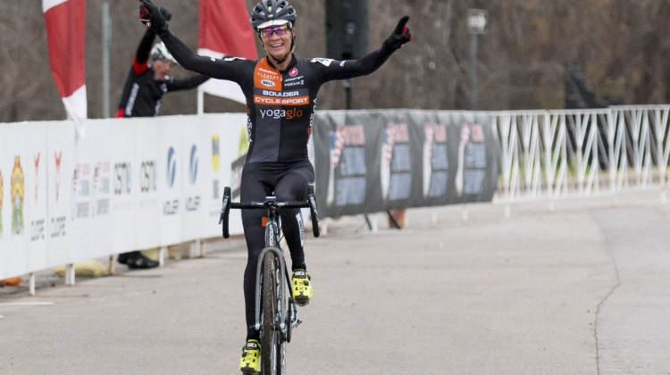 Kristin Weber took the Masters 40-44 Title, then called her husband. © Cyclocross Magazine