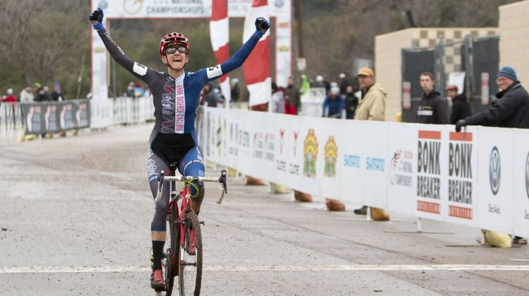 Nikki Thiemann had the best finish line celebration of the day, winning the Masters 35-39 race. © Cyclocross Magazine
