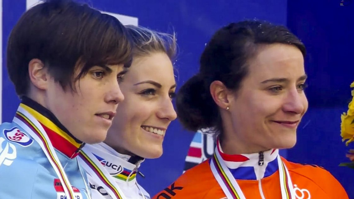 Ferrand Prevot took the win, with Cant in second and Vos in third. Photo taken from UCI footage