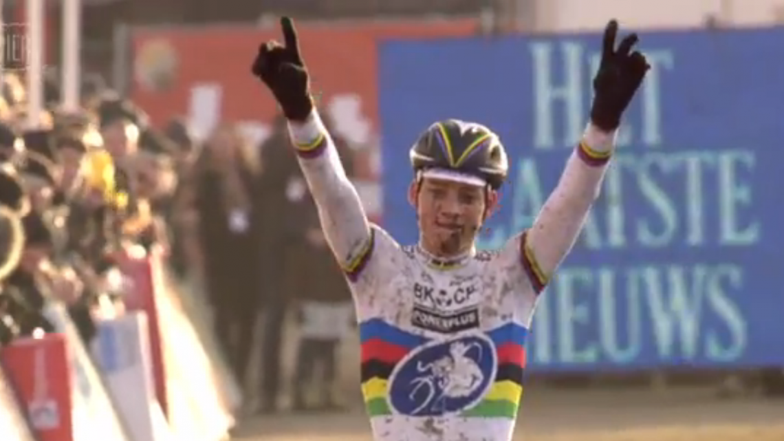 Van der Poel has become the rider to beat in 2015. Photo taken from Vier footage.