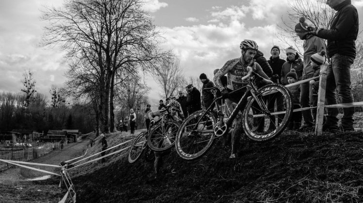 Does fear drive you or drive you away? Riders storming up an off-camber in the Swiss Cyclo-cross Championships. Photo by  Sébastien Gasser on flickr.