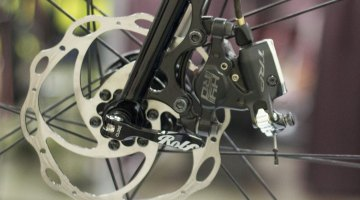TRP's cable-pull hydraulic disc brake stops this show bike. Mars Cycles' fillet brazed stainless steel cyclocross bike. NAHBS 2015. © Cyclocross Magazine