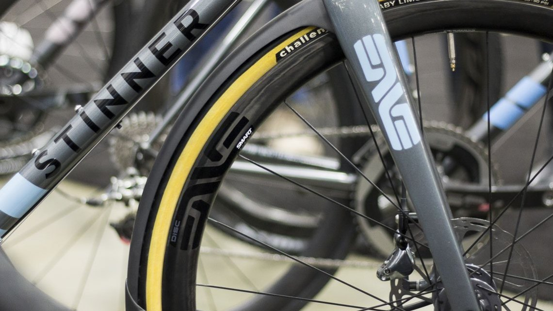 Stinner Frameworks had one of three prototype ENVE GRD gravel forks with built-in carbon fenders. © Cyclocross Magazine