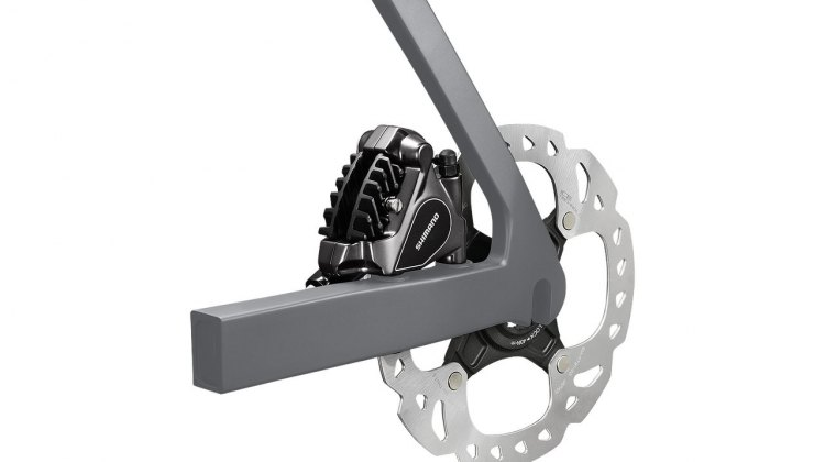 Shimano's new flat mount hydraulic disc brake caliper. © Shimano