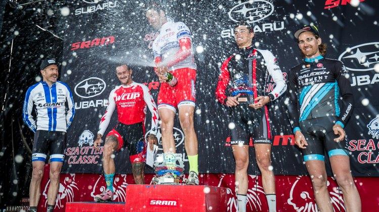 A sparkling podium in the Men's Elite Race, topped off by Tobin Ortenblad. © Matthew Lasala / Cyclocross Magazine