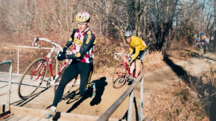 Throwback Thursday: Mark McCormack leading Adam Myerson. Boston cyclocross from the late 90s. © Cyclocross Magazine