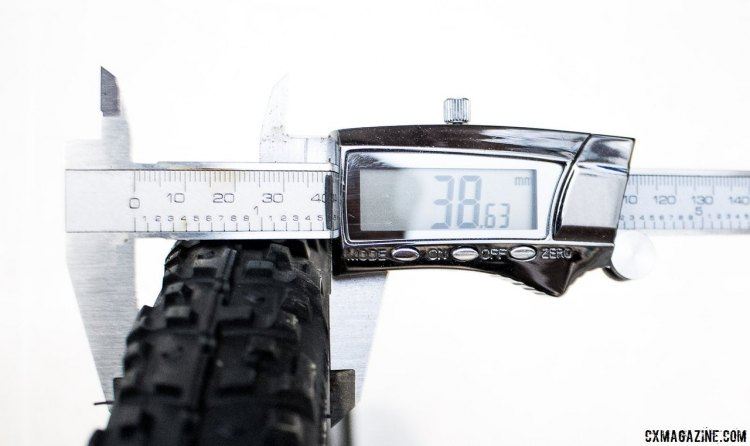 WTB's new Nano TCS 40c tubeless gravel tire measures a 38.6mm at 30psi on a 17.5mm (internal) rim. © Cyclocross Magazine