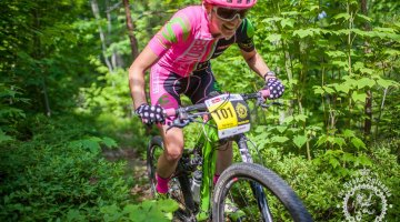 Vicki Barclay (Stan's NoTubes Elite Women's Team) rides through the woods at the NoTubes Trans-Sylvania Epic. Photo by Trans-Sylvania Epic Media Team