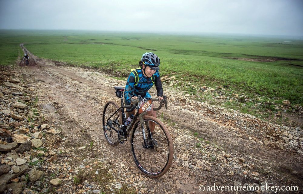 Amanda Nauman stormed to a muddy victory at this year's Dirty Kanza 200. © Eric Benjamin / adventuremonkey.com