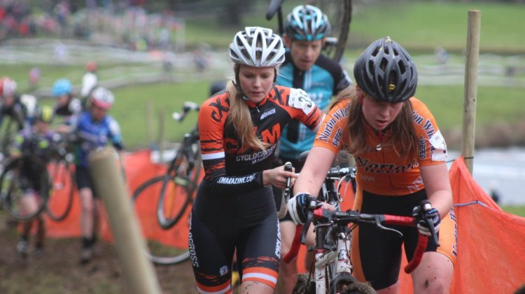 Joanna Rycroft battling with new team-mate Hannah Saville at Ripley Castle Cyclo Cross 2015 Photographer: Conor Palliser
