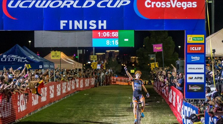 Wout van Aert became the new CrossVegas King at the world Cup. © Matthew Lasala / Cyclocross Magazine