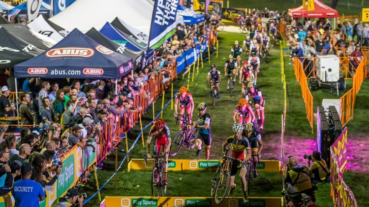 The front of the Elite Men's Race was still well together by the time they hit the barriers. © Matthew Lasala / Cyclocross Magazine