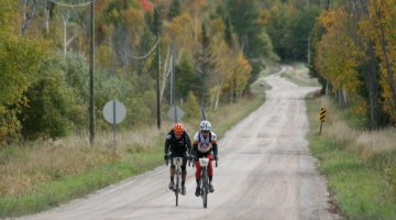 Brian Matter and Tristan Schouten on their way to 1st and 2nd place after a move on the 3rd KOM climb. Photo from Michigan Mountain Mayhem Gravel Grinder