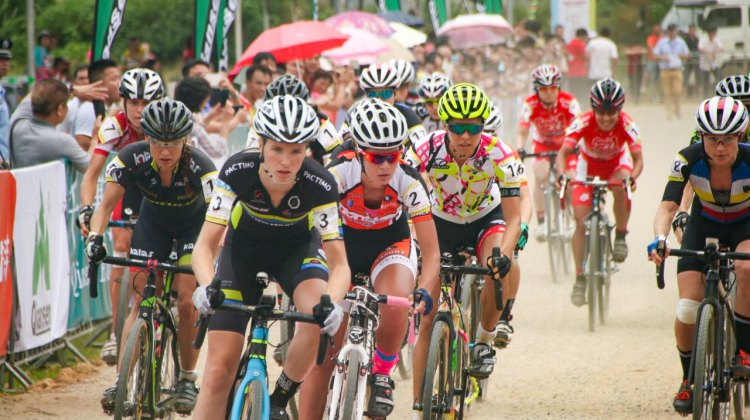 Kloppenberg lead the women's start at the UCI C1 Qiansen Trophy Cyclocross in Hainan. © Cyclocross Magazine