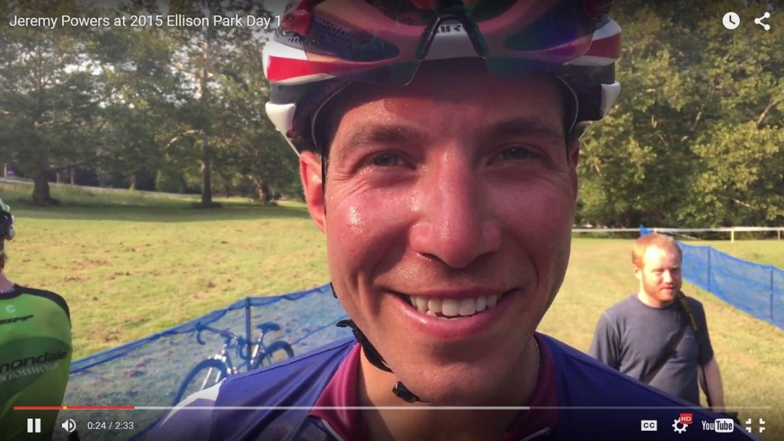 Jeremy Powers talks with Cyclocross Magazine about his 2015 Ellison Park win and the new UCI no-feed rule. © Cyclocross Magazine
