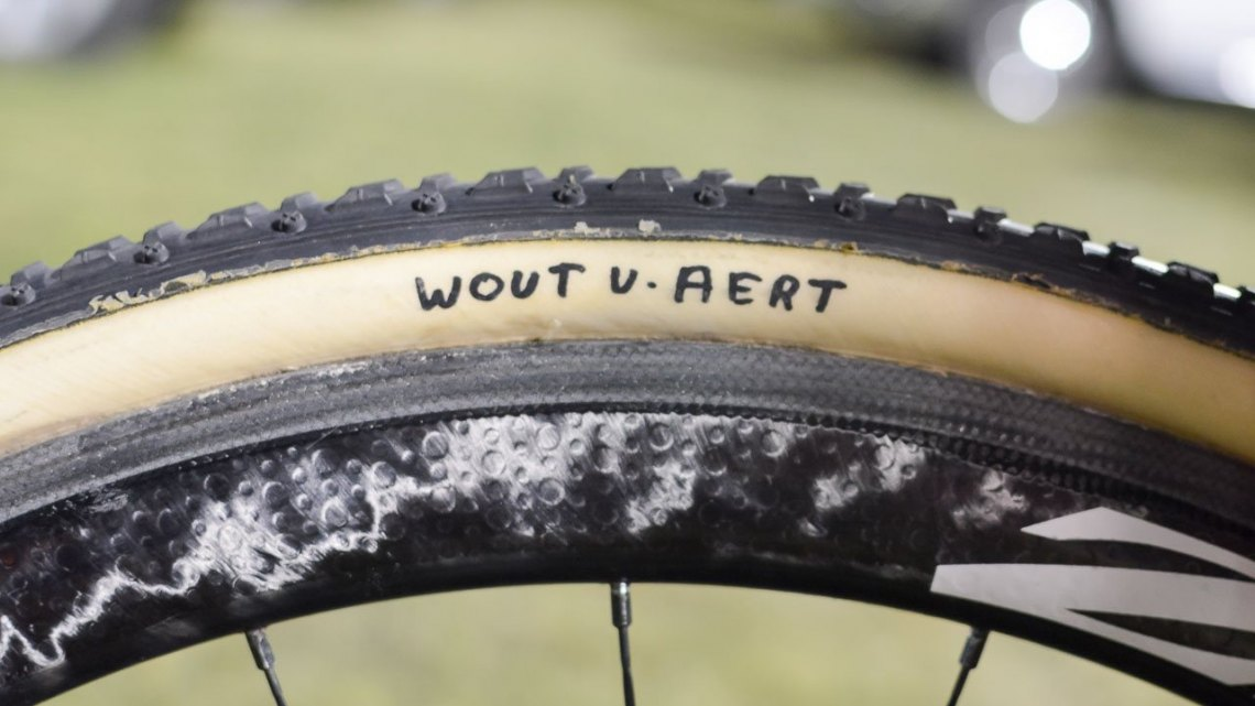 No question whose Dugast Typhoon tubulars these are. Wout van Aert's 2015 CrossVegas-winning Colnago Prestige cyclocross bike. © Cyclocross Magazine