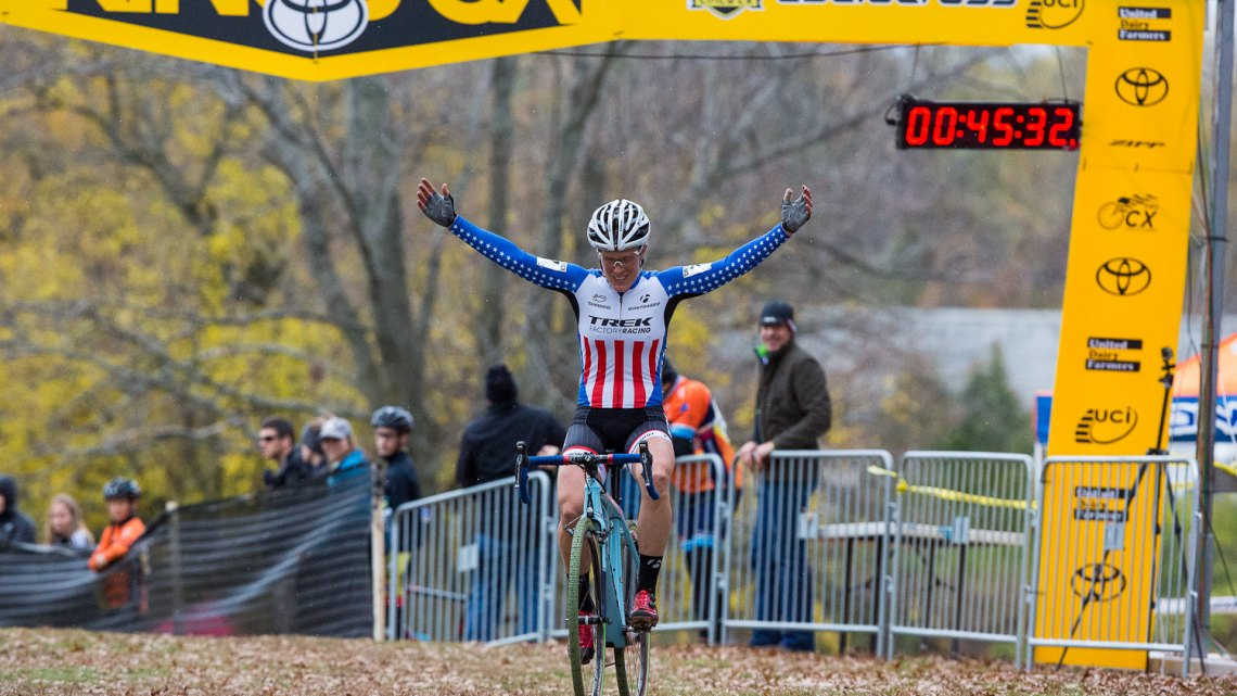 Katie Compton won Day One of the Cincinnati International Cyclocross Festival with a large gap and plenty of time to celebrate.