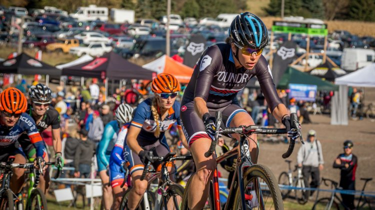 Carrie Sansome (Foundry) at grinding up the climb at the start of the Women's Elite race. © Todd Fawcett
