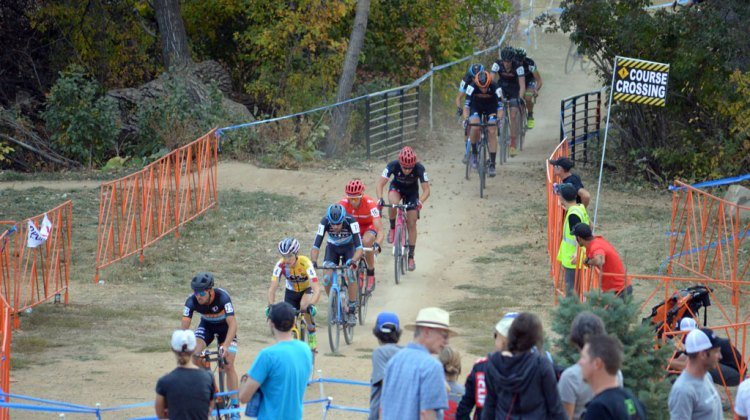 Danny Summerhill (Maxxis-Shimano) strings out the US Open of Cyclocross Elite Men's Field early on. © Ali Whittier