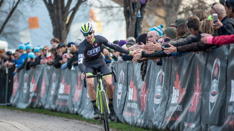 Jeremy Durrin celebrates his 2015 Manitoba Grand Prix of Cyclocross win with Winnipeg fans. © Thomas Fricke