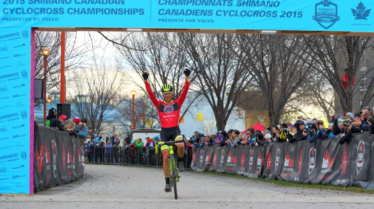 Raphael Gagne wins the 2015 Shimano Canadian Cyclocross Championships © Randy Lewis/lewisimages