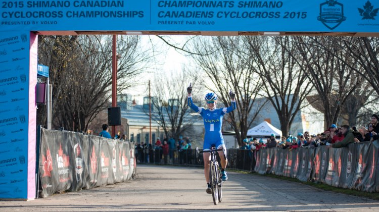 Maghalie Rochette wins the 2015 Manitoba Grand Prix of Cyclocross, her first UCI cyclocross victory. © Thomas Fricke
