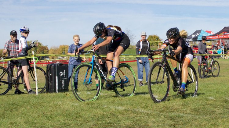 After 50 minutes of attacks and counter attacks it took a bike throw at the line for Dani Arman (St. Charles, IL) to beat Sydney Guagliardo (Barrington, IL) in the women's 1/2/3 race. © SnowyMountain Photography