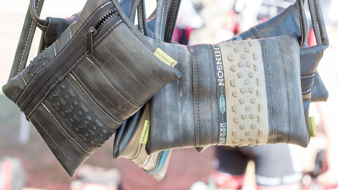This Totally Tubular Designs sling bag turns a Hutchinson Bulldog tire into a haute fashion accessory. © Cyclocross Magazine