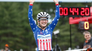 Ellen Noble wins decisively, moving her into the Verge NECX Series leader's jersey. Photo by Todd Prekaski