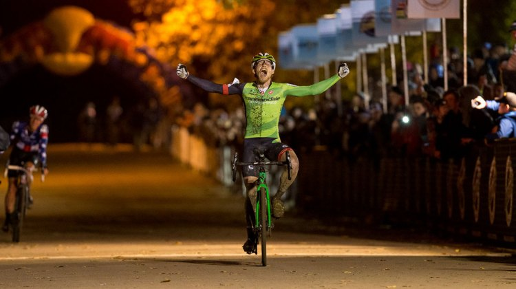 An ecstatic Stephen Hyde took the win on Day One of the Derby City Cup. © Kent Baumgardt