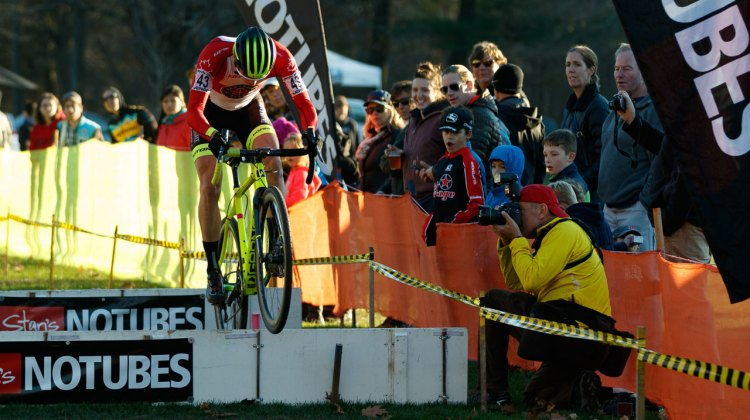 Gagne hopping the Stan's NoTubes barriers. Photo by Todd Prekaski
