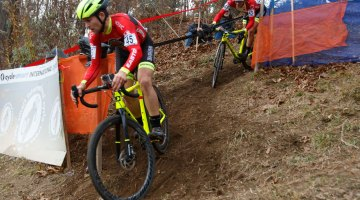 Van den Ham and Gagne riding the tricky descent. Photo by Todd Prekaski
