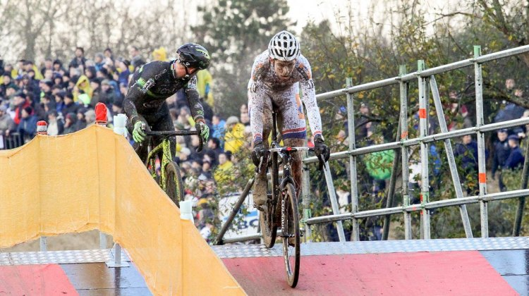 Van Aert and Nys alone up front, and Nys ensuring that he only has one youngster to battle. 2015 Koksijde World Cup Men. © B. Hazen / Cyclocross Magazine