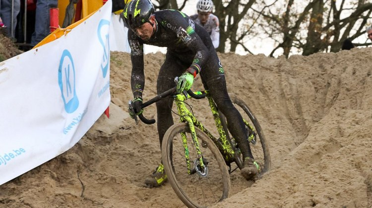Nys attacks van Aert and the sand. 2015 Koksijde World Cup Men. © B. Hazen / Cyclocross Magazine