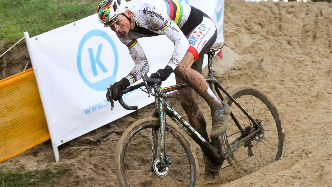 Overshadowed by the nail-biting two-man duel up front, Mathieu van der Poel's third-place ride was very impressive in his first race after knee surgery. 2015 Koksijde World Cup Men. © B. Hazen / Cyclocross Magazine